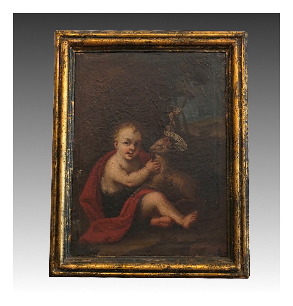 "Cod: 249214 Dipinto antico olio su tela raffigurante ""San Giovannino""."