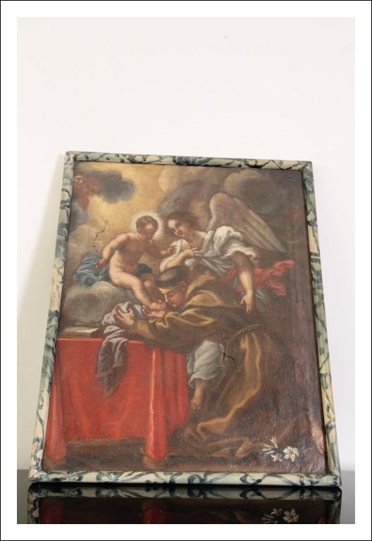 Antico Olio su tela scuola Emiliana Sant' Antonio epoca 600 scena sacra! Cm 45 x cm 36