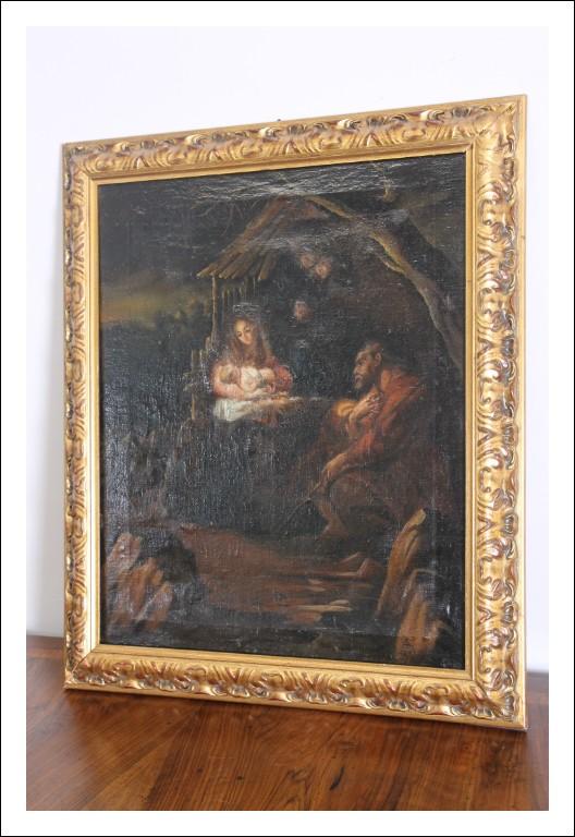Antico dipinto Natività firmato e datato 1897. Olio su Tela scuola Italiana .