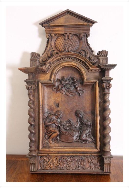 Antica scultura Bassorilievo natività epoca XVII SEC. scultura noce scuola italiana .Antiquariato