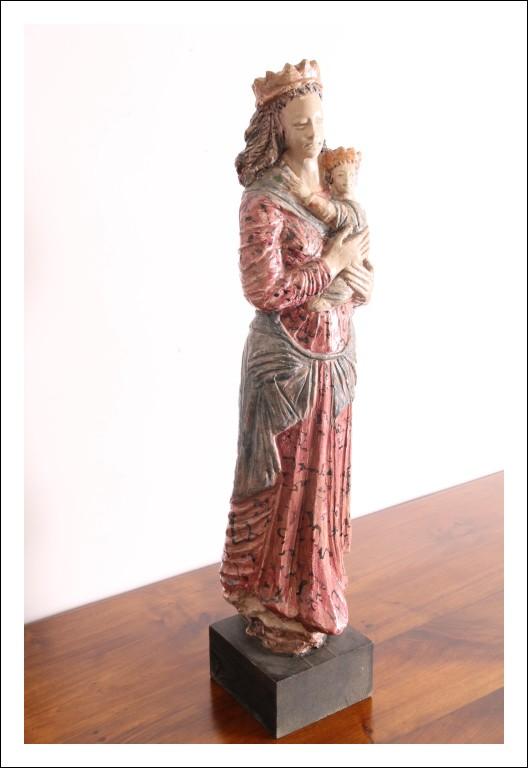 Antica scultura Vergine in maiolica policroma anni 50 h cm 70. Firmata Benini FAENZA