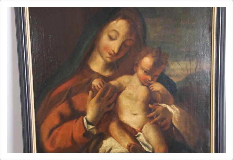 """Antico dipinto Maternità XVII """"Ambito di Livio Mehus"""" .Grande qualità sacra  Antiquariato"""
