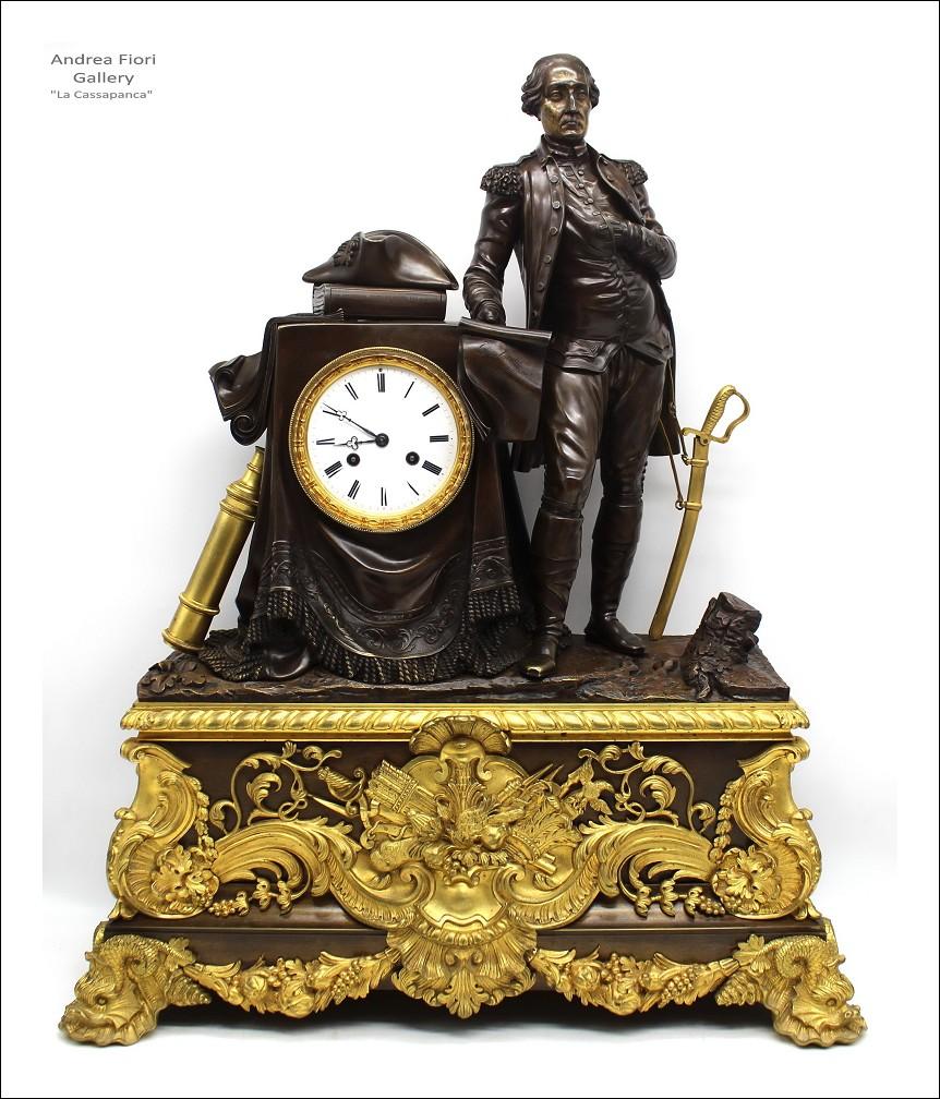 Antico Orologio a Pendolo Luigi Filippo in bronzo dorato (H.71) - epoca XIX secolo