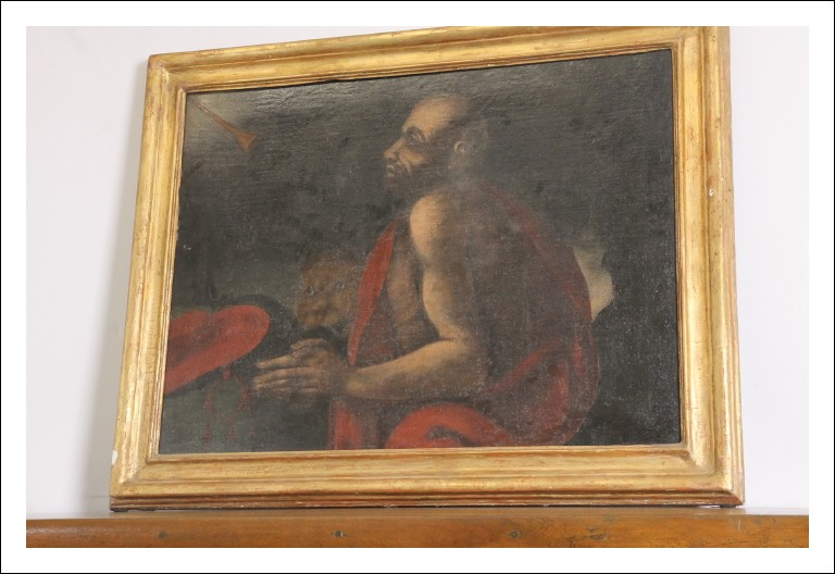 Antico dipinto olio su tela epoca XVII sec san Girolamo e Leone . cm 102 x cm 81 Antiquariato