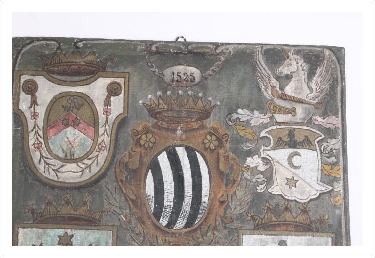 Antico dipinto olio su tela con stemmi nobiliari epoca XVI/ XVII  sec scuola italiana. Antiquariato