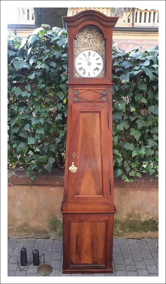 Orologio pendolo a colonna, dell'800, in noce.