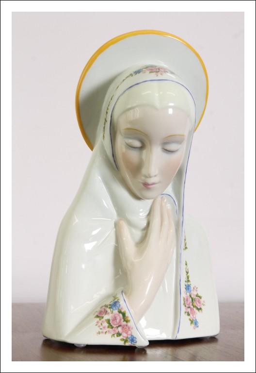 Antica scultura Ceramica madonna RONZAN anni 40 ! Firmata art decò bellissima !!!