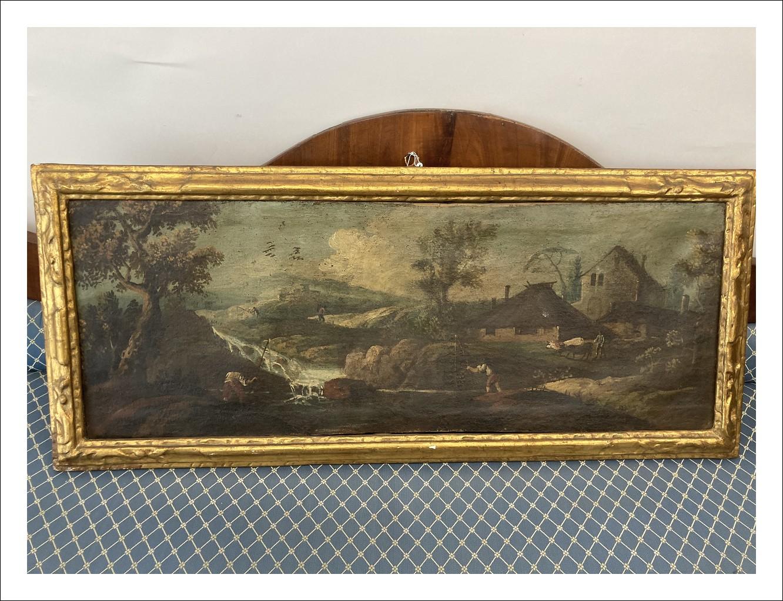 Antico dipinto olio su tela paesaggio XVIII SEC Marche .Cornice coeva dorata a mecca Antiquariato cm