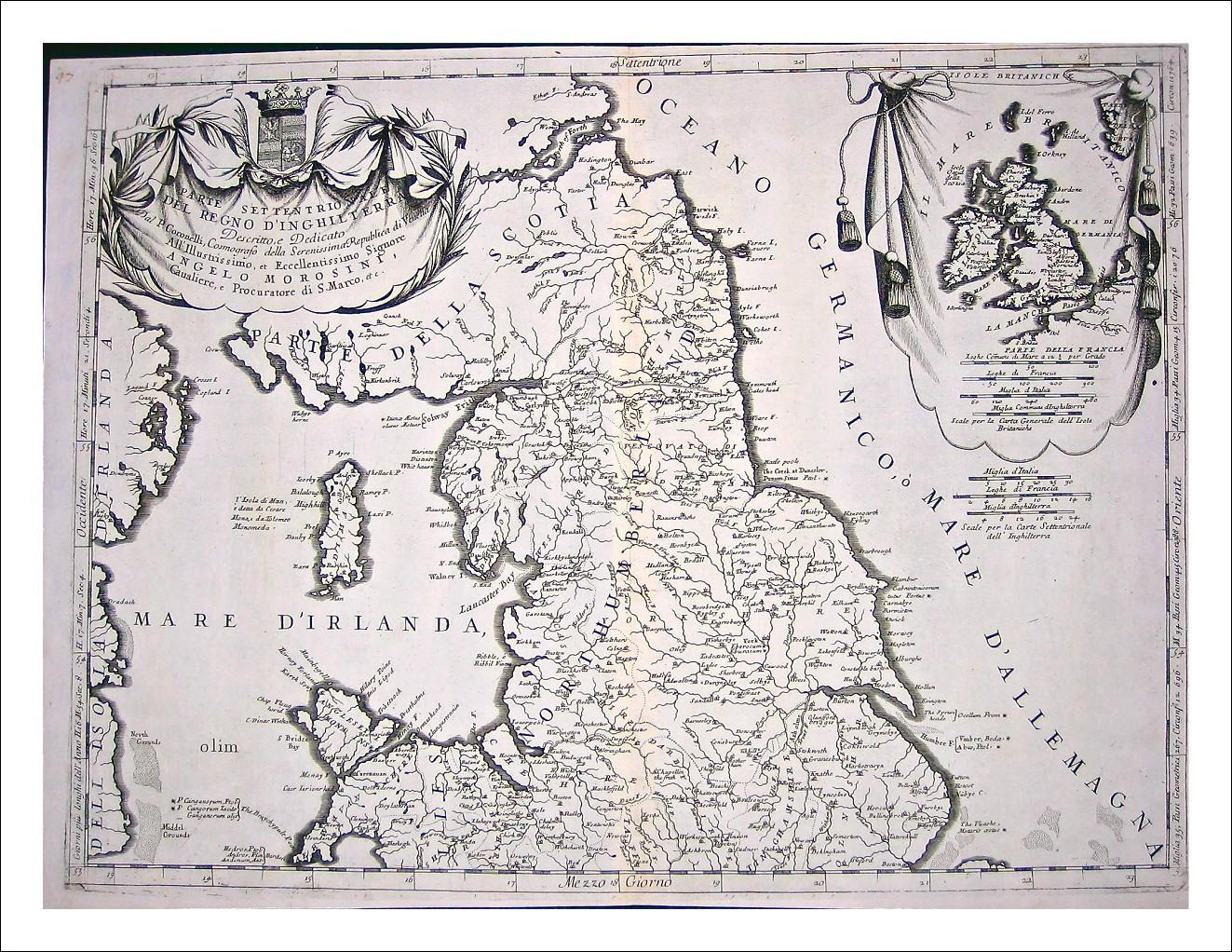 Regno d' Inghilterra su due fogli- V M CORONELLI- 1690  Autentiche