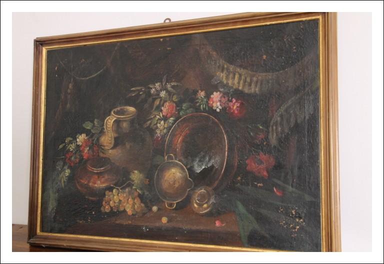 Antico dipinto Natura morta olio su tela fine 800 misure cm 100 x 72 scuola Italiana con cornice.
