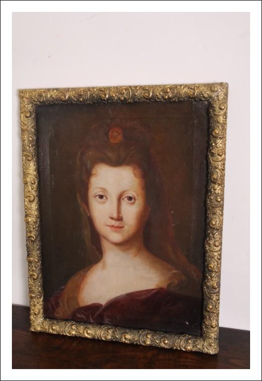 Antica Dama olio su Tela epoca XVIII sec scuola toscana . Antiquariato dipinto cm 61 x cm 47