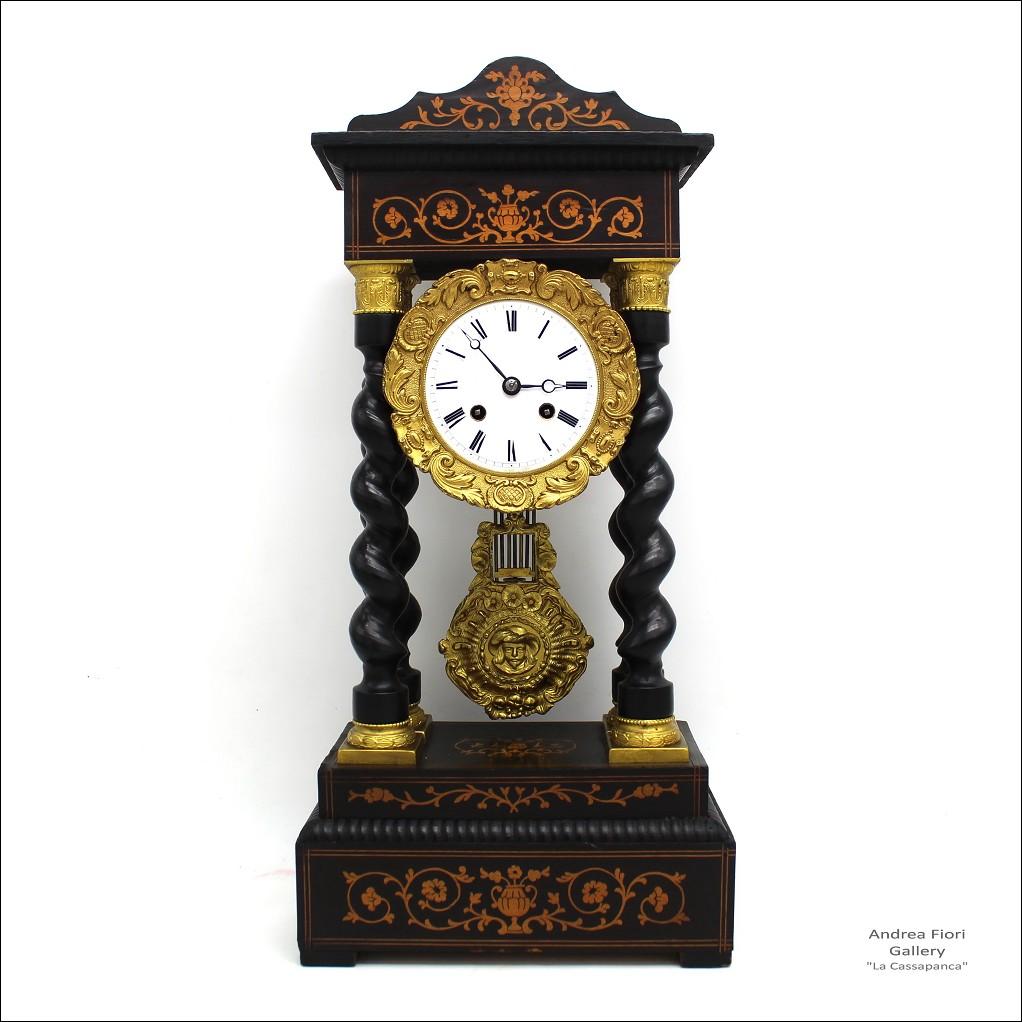 Antico Orologio a Pendolo Portico Napoleone III intarsiato - epoca XIX secolo