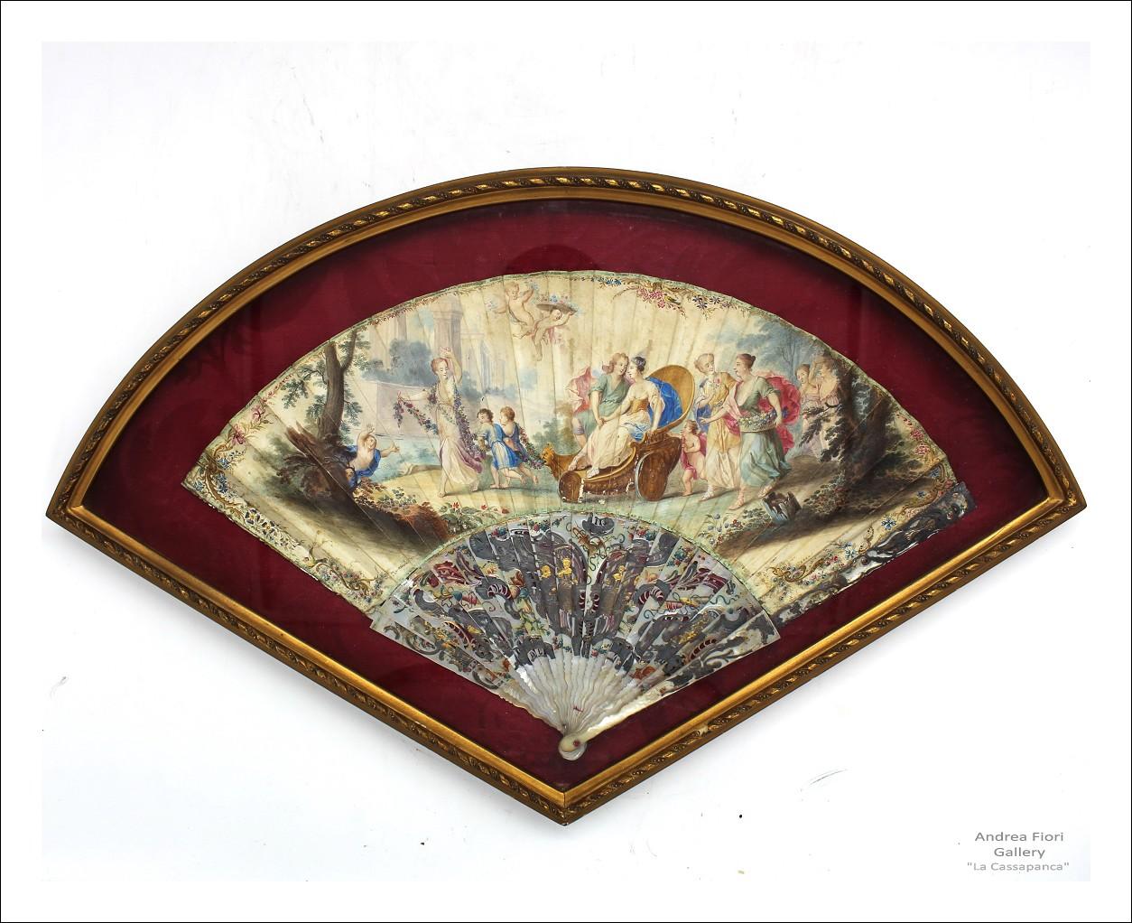 Antico Ventaglio dipinto - madreperla incisa - epoca XIX secolo